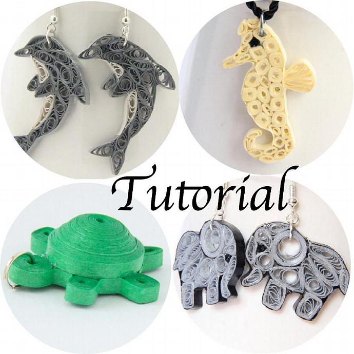 Tutorial for Paper Quilled Animal Jewelry PDF Dolphin Elephant Seahorse Turtle