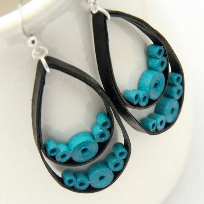 Big Black Teardrop Earrings with Turquoise circles - with Niobium Earring Hooks,