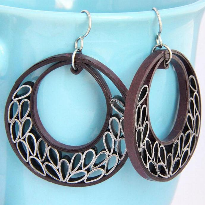 Big Crescent Earrings with Niobium Earring Hooks Unique Handmade Silver and