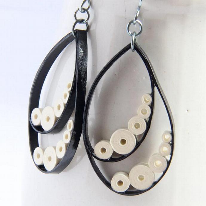 Ebony and Ivory Big Drop Earrings Paper With Niobium Earring Hooks Eco Friendly