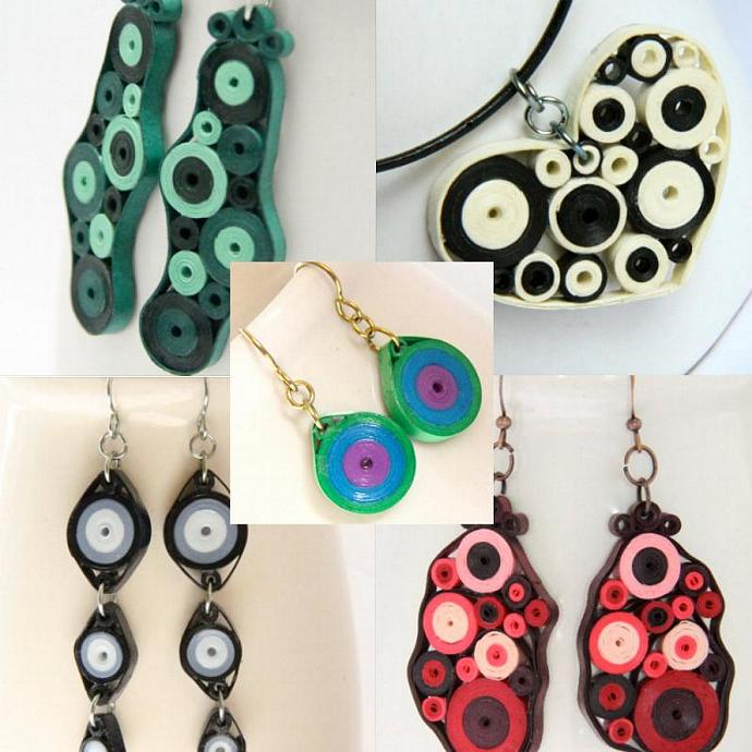 Tutorial for Paper Quilled Jewelry PDF Retro Circles Earrings and Pendant