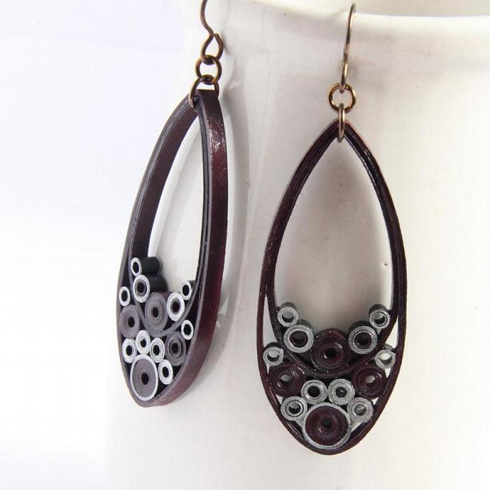 Teardrop Earrings Burgundy and Silver Paper With Hypoallergenic Niobium Earring