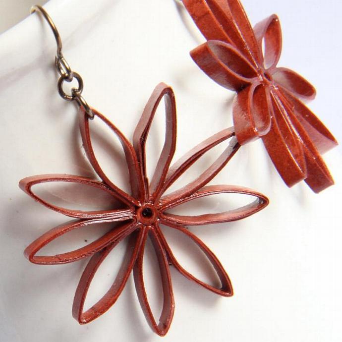 Rust Brown Star Earrings Big Nine Pointed Star Baha'i Jewelry Handmade with
