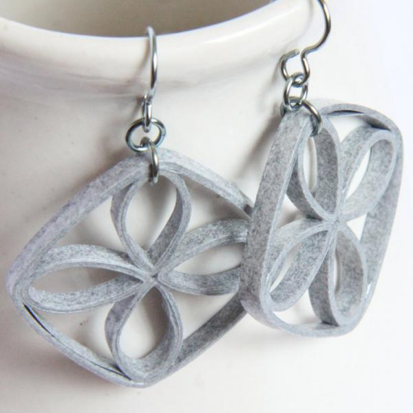 Eco Friendly Earrings Grey Paper Quilled Lattice Earrings with Niobium Earring