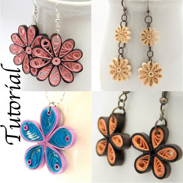 Tutorial for Paper Quilled Jewelry PDF Flower Earrings and Pendant Designs DIY