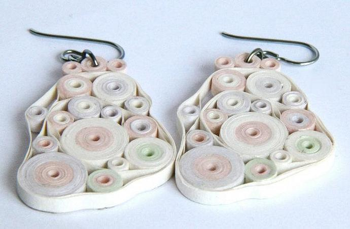 Pastel Earrings Retro Circles OOAK Paper Quilled with Niobium Earring Hooks Eco