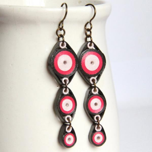 Pink and Brown Circles Chain Earrings with Niobium Earring Hooks Handmade Paper