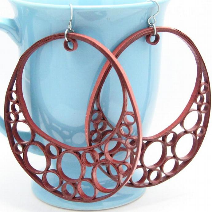 Huge Earrings OOAK Crescent Hoop Statement Jewelry with Niobium Earring Hooks