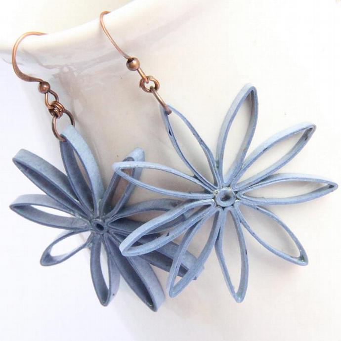 Big Flower Earrings Denim Blue Nine Pointed Stars Paper Quilled Eco Friendly