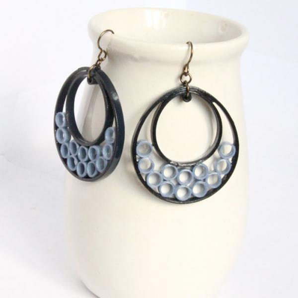 Blue Crescent Hoop Earrings with Niobium Earring Hooks Unique Handmade Paper Eco