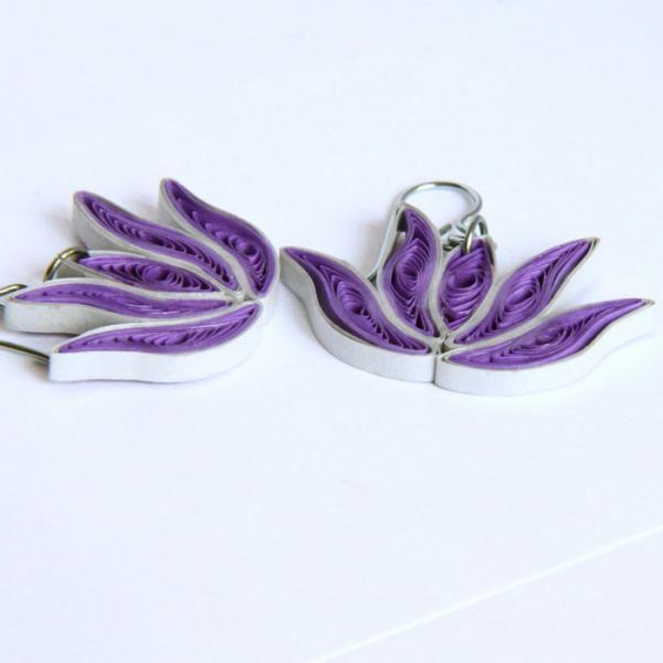 Lotus Earrings Purple and Silver Handmade with Niobium Earring Hooks Bridesmaid