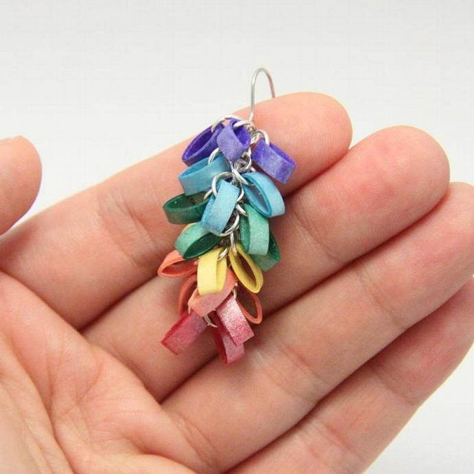 Eco Friendly Earrings Rainbow Cluster Modern Paper Jewelry Niobium Earrings