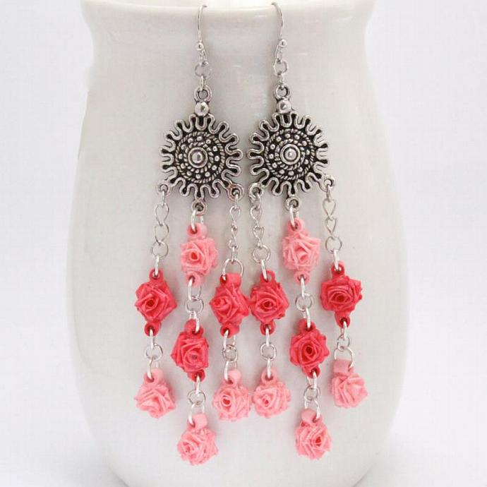 Save 75% Pink Rose Chandelier Earrings Tiny Roses Paper Flowers Unique Handmade