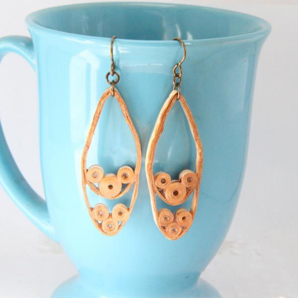 Bronze Teardrop Earrings Fall Fashion Paper Quilled With Niobium Earring Hooks