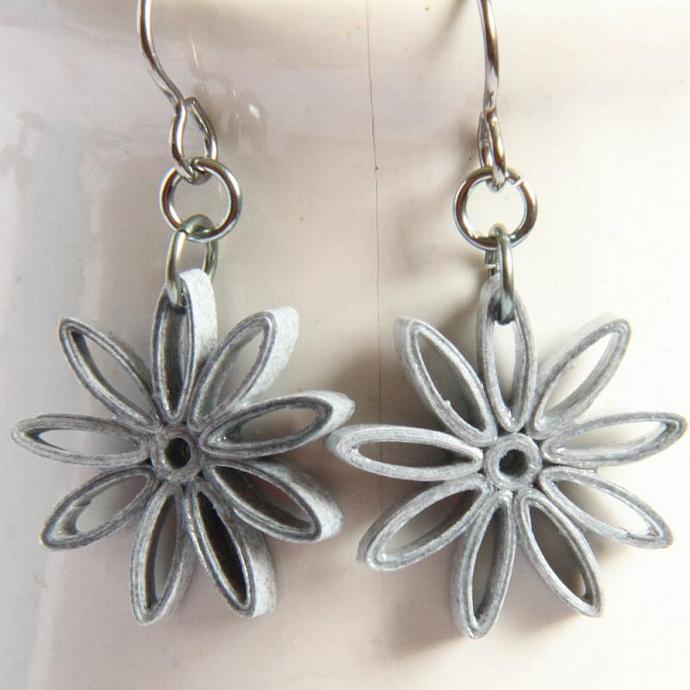 Grey Star Earrings Nine Pointed Paper Quilling bridesmaid gift with Niobium