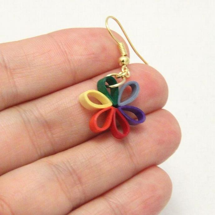 Eco Friendly Earrings Rainbow Flower Paper Quilled Handmade Artisan Jewelry