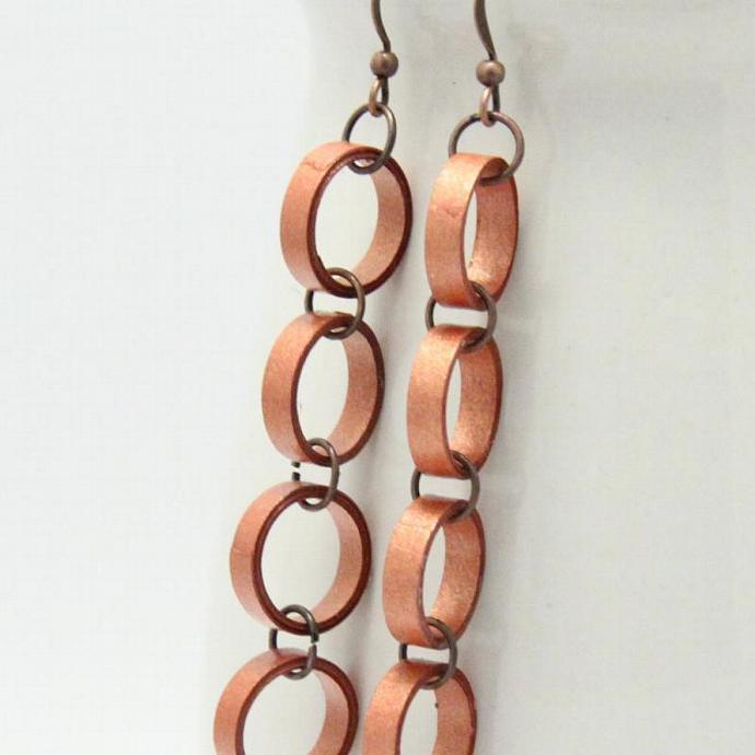 Eco Friendly Copper Paper Chain Earrings Artisan Jewelry