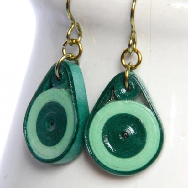Eco Fashion Earrings Green Circle Dangle Earrings with Niobium Earring Hooks