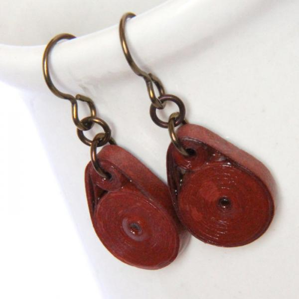 Eco Friendly Earrings Rust Brown Circles with Niobium Earring Hooks Handmade by