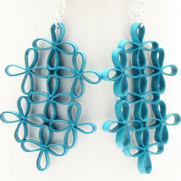 Eco Fashion Earrings Turquoise Lattic Floral Design Paper Quilling Unique