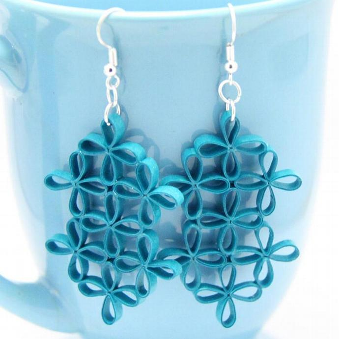 Eco Fashion Earrings Turquoise Lattic Floral Design Paper Quilling Unique
