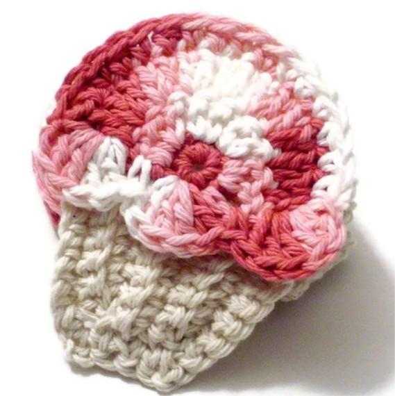 Crocheted scrubbies Cupcake in pink and tan cotton SET OF 4