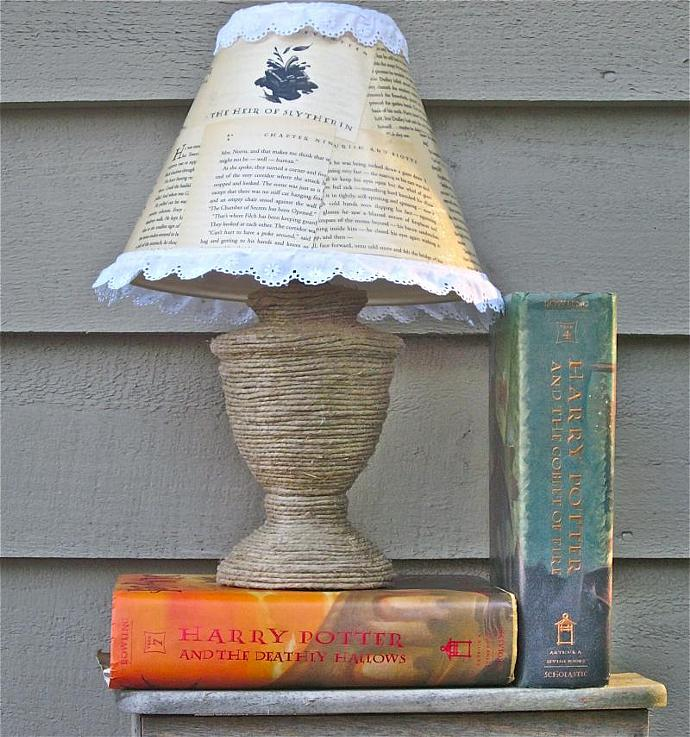 Harry Potter Book Page Lampshade and Hemp Lamp