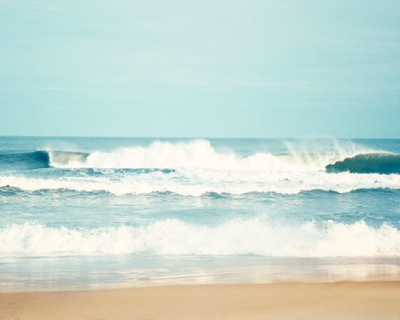 Ocean Photography - 8x10 Sea Print - Blue White Beige Seashore Wall Art