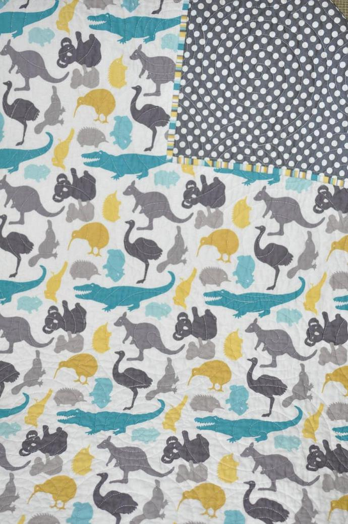 Modern baby boy quilt blanket down under fabric biggiwink for Boy quilt fabric