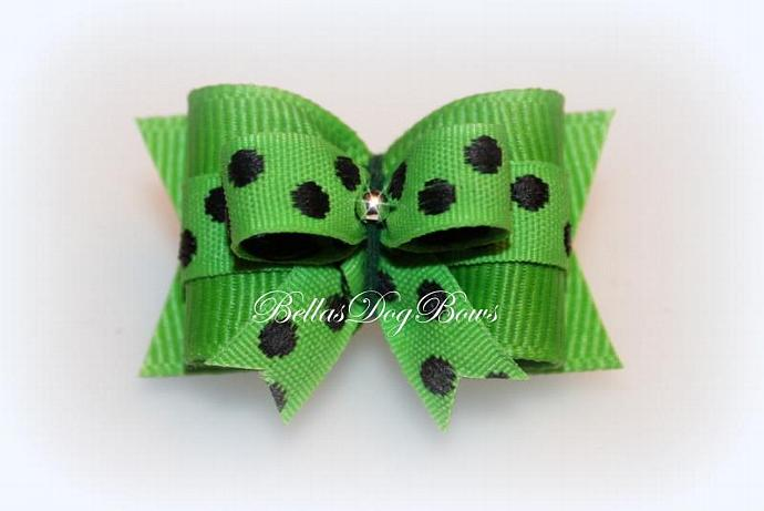 7/8 Bow on Bow ~ Green & Black Dotted Small Bow on Large Green Bow