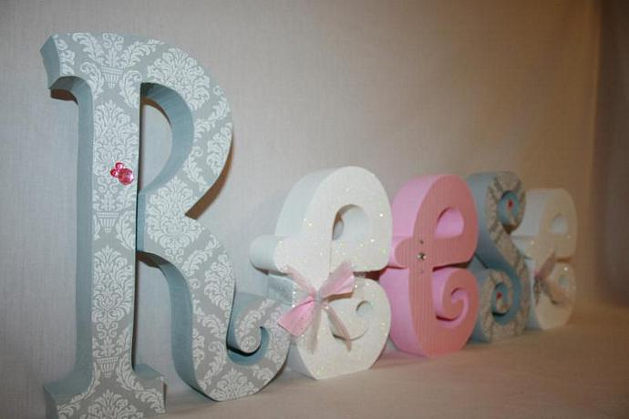 nursery letters baby girl wooden letters pink and gray damask room decor wooden