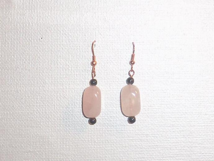 Earrings Rose Quartz and Hematite