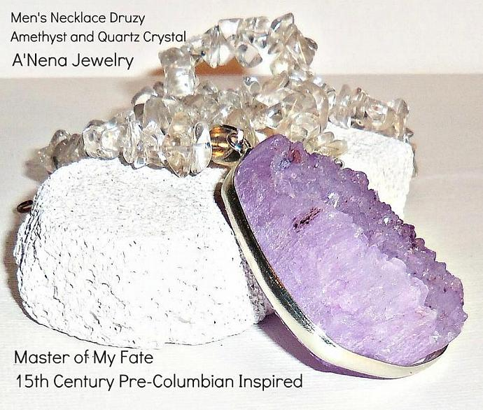 Men's Necklace Genuine Druzy  Amethyst Gemstone Pendant and Natural Quartz