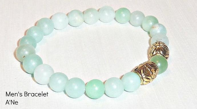 """Men's Bracelet """"Courage"""" Pure Genuine Amazonite and Silver  Plated Beads"""