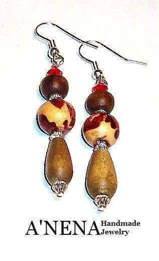 "Women's Earrings:Wood and Swarovski Crystal ""I Am Prosperously Successful"""
