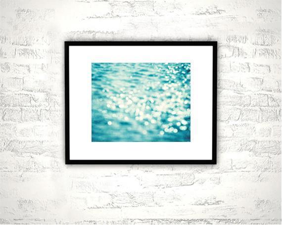 Abstract Photography - 8x10 Bokeh Print - Blue Wall Art Bathroom Print