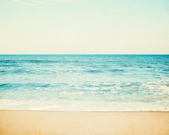 Ocean Photography - 8x10 Sea Print - Aqua Blue Beige Coastal Wall Art