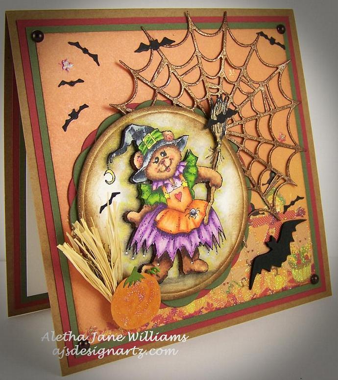 Witchy Bear for Halloween Handmade Handstamped Seasonal Greeting Card