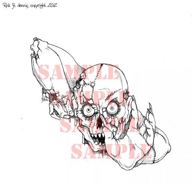 Zombie Lets have Brains digi stamp