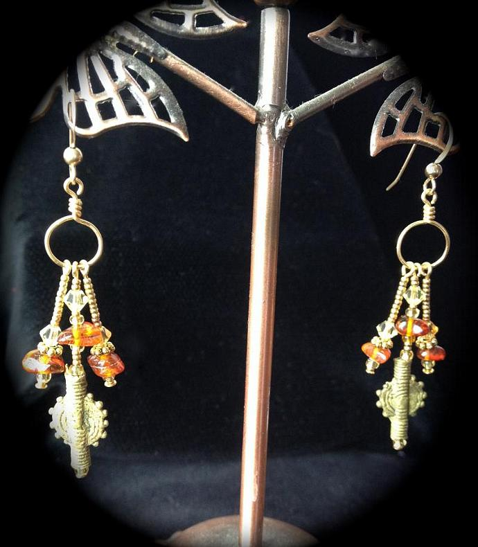 Golden Amber Earrings