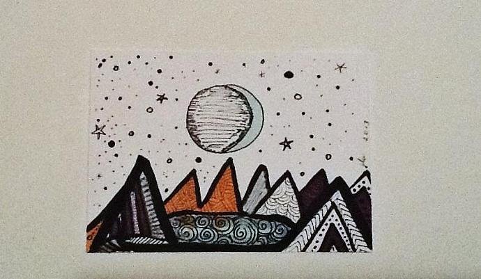 ACEO abstract original Lunar Mountainscape ATC
