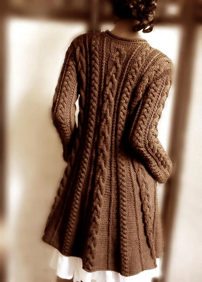 Women&39s cable knit merino wool coat Chocolate | Pilland