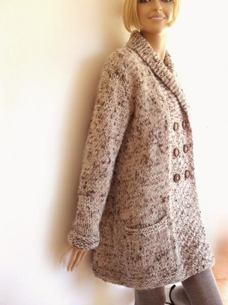 Women's hand knit Coat Chunky tweed wool sweater by Pilland on Zibbet