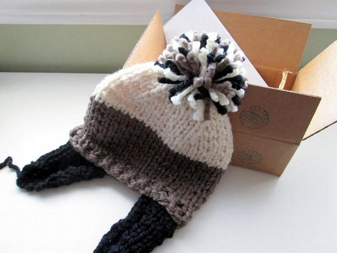 Monochromatic Panda Hand Knit Ear Flap Pom Pom Hat - Acrylic Wool Blend