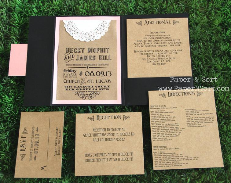 Rustic Wedding Invitation - Pocket Fold | PaperNSort