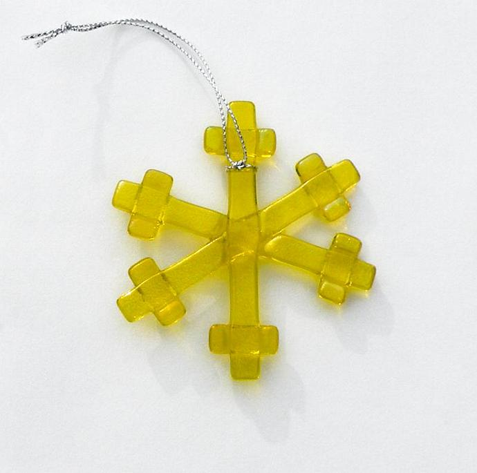 Holiday Ornament, Fused Glass Snowflake, Iridescent Yellow