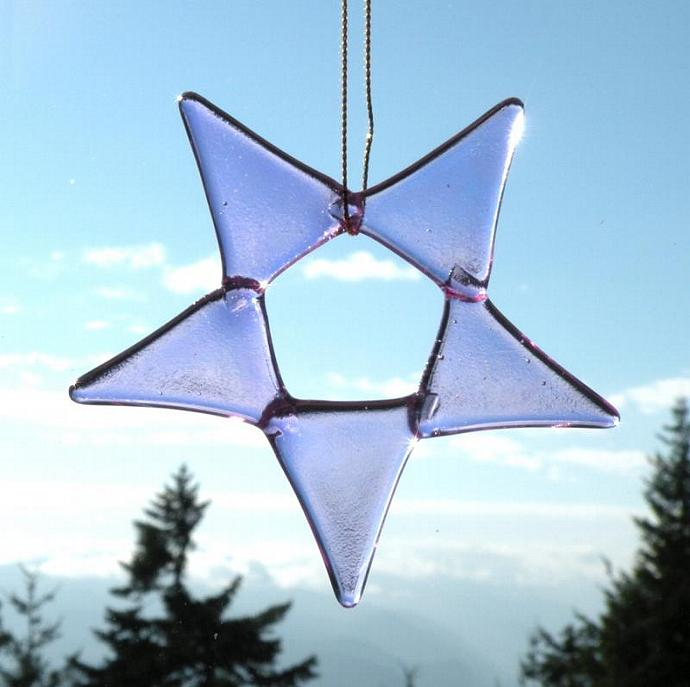 Holiday Ornament, Fused Glass Star, Iridescent Lavender