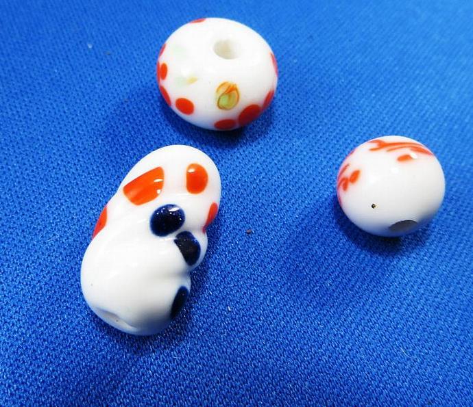 Orange and White Three Bead Set