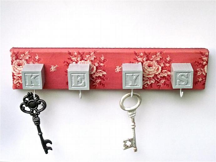 Key Holder Key Rack Pink Rose Print