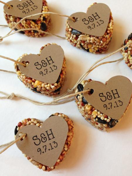 50 Bird Seed Heart Shaped Favor MINI- Wedding and Events - Personalized bird